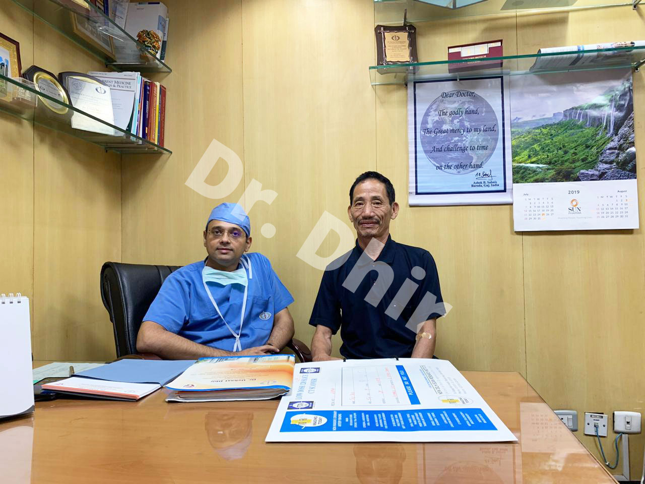 Patient from Arunachal Pradesh after surgery for liver cancer. 80% liver removed and patient doing well with no recurrence.